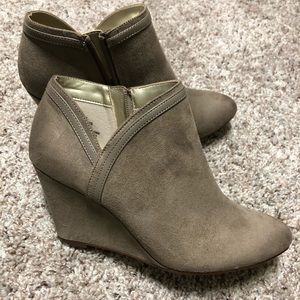 Women's beige wedge booties size 8